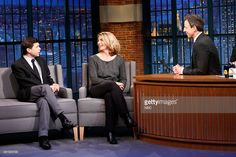"Boston Globe Reporters Michael Rezendes, Sacha Pfeiffer during an Interview on NBC's ""Late Night with Seth Meyers"" on (November 19, 2015)"