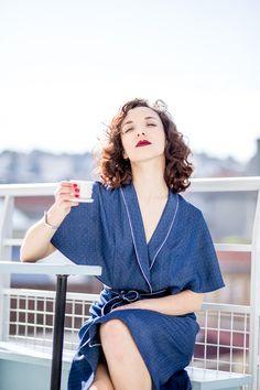 Robe pyjama en denim plumetis - 100% coton - Made in Paris