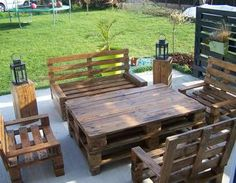 Salon de jardin en palettes | Pallets, Pallet furniture and Yards