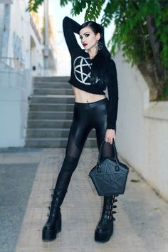 Model: Mary De Lis Sweater, Bag & Earrings: Killstar Leggings: Lip Service Boots: Demonia Shoes from Attitude Holland Welcome to Gothic and Amazing | www.gothicandamazing.com