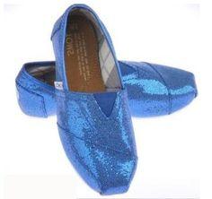 Blue Glitter Toms Shoes Women For Sale Cheap