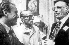 Andrea Geremicca, storico leader del PCI napoletano, con Eduardo De Filippo e l'ex sindaco di Napoli, il comunista Maurizio Valenzi