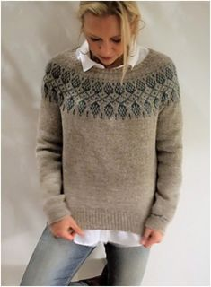 Jumper Knitting Pattern, Chunky Knitting Patterns, Knitting Designs, Pull Jacquard, Icelandic Sweaters, Nordic Sweater, Knitwear Fashion, Fair Isle Knitting, Pulls