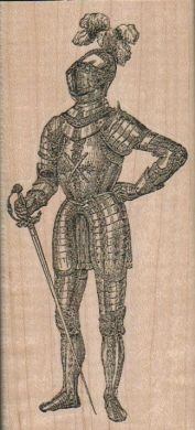 Knight In Armor 2 1/4 x 4 3/4 - $11.75 mounted - #vintage #medieval #standing #knight in #armor
