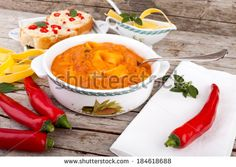 #Cannellini #beans #soup with #tomatoes and #eggpasta, served with #crostini and #hot #chilipeppers. #autumn / #winter #food #recipe #recipes #cuisine #cooking #culinary #gourmet #idea #ideas #royaltyfree #stockphotos via #Shutterstock