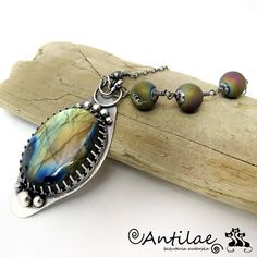 Surto-Labradorite agate with druzy silver wire wrapping by Antilae