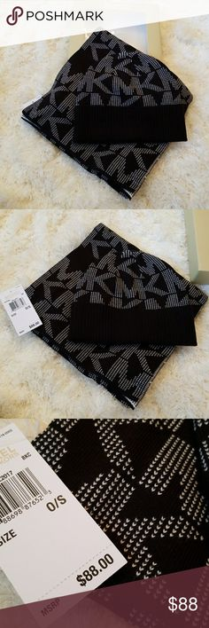 MICHAEL KORS SCARF & HAT set New with tags in box 100% Authentic   Michael Kors black & white logo sized logo scarf and hat set. Gift idea Michael Kors Accessories Scarves & Wraps