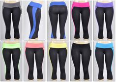 Women's Athletic Capri Yoga Pants - Black w/ Colored Waist & Sides Case Pack 72