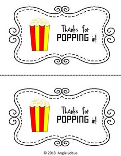 Thanks for POPPING in FREEBIE! Need a cute item to leave on your students' desks for Meet the Teacher, Open House, or parent conferences? Tape a bag of POPcorn onto this FREEBIE, and you're set! www.facebook.com/positivelypassionateaboutteaching Beginning Of Kindergarten, Beginning Of The School Year, Teacher Appreciation Gifts, Volunteer Appreciation, Back To School Night, Parent Teacher Conferences, School Opening, Teacher Notebook, Meet The Teacher