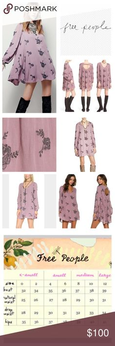 "Free People Emma Embroidered Mini Dress.  NWT. Free People Emma Floral Embroidered Mini Dress, lined, 100% rayon, washable, 21"" armpit to armpit (42"" all around), 18"" arm inseam, 34"" length, flowy swing dress (which can also be worn as a tunic), floral embroidery detail, elastic band at bust, back and cuffs, rounded V neck, back cutout, pullover style, measurements are approx.  NO TRADES Free People Dresses Mini"