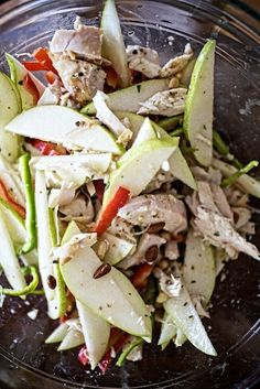 Warm Chicken Salad with Peppers, Pears & Toasted Pinenuts use bone-in ...