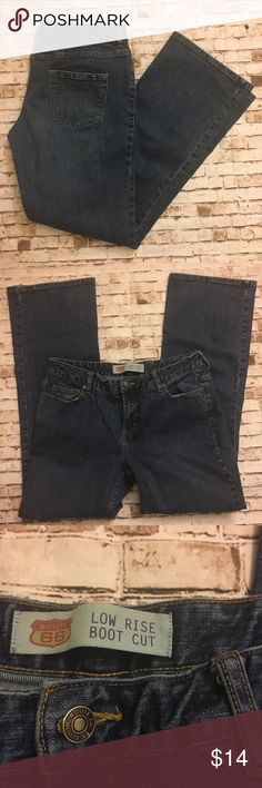 The best jeans ever For real these jeans make your bootie look fab. No they're $200 designer jeans but trust me, you want these. Lower cut (but not I need a bikini wax low cut) with boot cut leg opening. Great shape, perfect blue color. Sz 12. Route 66 Jeans Boot Cut