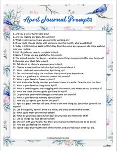 April Journal Prompts - Chronic Mom LifeApril Journal Prompts - Chronic Mom LifeJournaling is a great resource for self discovery and growth but if you're stump.Journaling is a great resource for self discovery and growth Daily Journal Prompts, Journal Entries, Journal Pages, Journals, Art Therapy Activities, Indoor Activities, Summer Activities, Family Activities, Gender Neutral Names