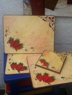 Individuales pintados a mano.. Decoupage, Art Images, Ideas Para, Plastic Cutting Board, Diy And Crafts, Shabby, Painting, Vintage, Craft