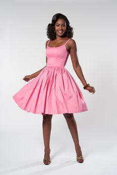 Jenny Retro Dress in Cotton Candy Pink