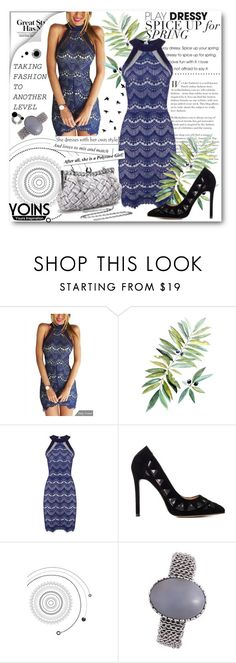 """Yoins halter lace lined dress"" by lialondon ❤ liked on Polyvore featuring yoins"