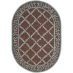 Chelsea Brown/Blue 4 ft. 6 in. x 6 ft. 6 in. Oval Area Rug