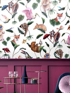 This wild and maximalist pattern livens up any space with its fun and playful carnival of creatures. The Bohemian Palms collection was hand painted in oils, with care and attention given to every detail, this is then reproduced onto luxury vinyl wallpapers. Explore the forests of the Blue-Snub Nosed Monkey & the bejewelled Vermilingua, letting your imagination take flight with nature's creations. This quality wallpaper benefits from being a paste the wall paper. Animal Print Wallpaper, Vinyl Wallpaper, Wild Creatures, Safari Animals, Luxury Vinyl, Stuffed Animal Patterns, Repeating Patterns, Paint Designs, Main Colors