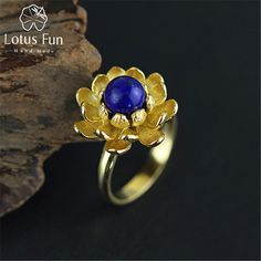 Lotus Fun 925 Sterling Silver Rings for Women Natural Blue Lapiz Handmade Fine Jewelry Bloom Lotus Flower Female Adjustable Ring -*- Nov 11 AliExpress BIG SALE. Locate the offer on www.aliexpress.com simply by clicking the VISIT button #yulelogcake