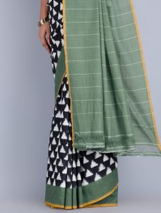 Black-White-Green Cotton Double Ikat Handwoven Saree by Ghanshyam Sarode