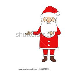 Santa pointing in empty space for your text. Christmas vector illustration. Put your message.