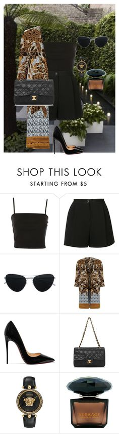 """FABULOUS ME #623"" by elana-favella-gatoni ❤ liked on Polyvore featuring Topshop, Boutique Moschino, Mykita, River Island, Christian Louboutin, Chanel and Versace"