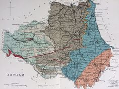 1913 Durham - Original Antique Small Geological Map - UK County Map - Geology - Available Framed by NinskaPrints on Etsy https://www.etsy.com/uk/listing/552554729/1913-durham-original-antique-small