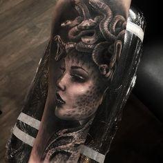 "2,117 Likes, 29 Comments - Ash Lewis (@ashlewistattoo) on Instagram: ""Medusa forearm tattoo World Famous Inks Ink Booster Ez Cartridges #blackandgreytattoo…"""