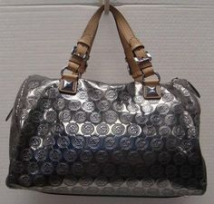 bc2b2b3941a6 MICHAEL KORS GRAYSON LARGE SATCHEL MONOGRAM MIRROR METALLIC NICKEL HANDBAG  PURSE #MichaelKors #Satchel Handbags