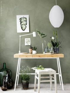 Sage green walls with desk and chair Ikea Design, Home Office Design, Home Office Decor, Ikea Office, Urban Home Decor, Office Ideas, Ikea Workspace, Ikea Wood Desk, Sage Green Walls