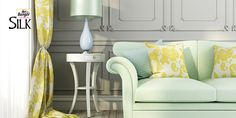 Give a lime & lemony tinge to your drawing room for a fresh look.