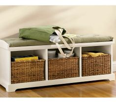 Storage bench; Top for suitcase, bottom for returnables, recycling and water for the dogs