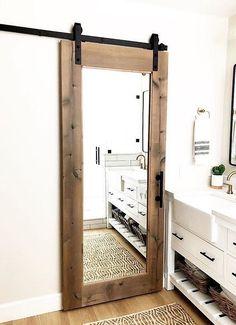 Bedroom Barn Door, Barn Door Closet, Barn Door On Bathroom, Sliding Bathroom Doors, Wood Barn Door, Diy Barn Door, Farm Door, Sliding Barn Door Hardware, Interior Sliding Barn Doors