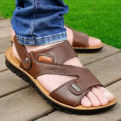 962836d844fc4 New Men Outdoor Sandals Shoes Leather Soft Comfortable Summer Beach Shoes  Flat Slipper Shoes - Banggood