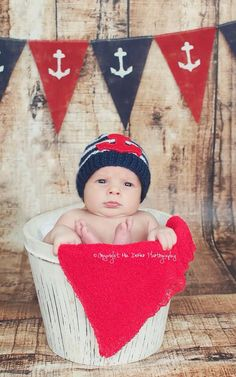 Baby newborn boy nautical anchor beachy themed red and blue photo shoot