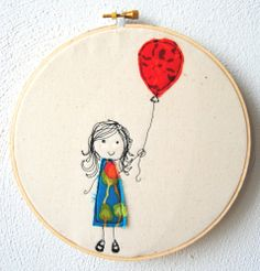 sweet little girl with balloon - embroidery hoop art