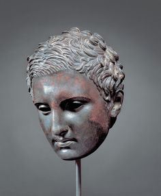 """Power and Pathos: Bronze Sculpture of the Hellenistic World,"". Coming to the Getty Museum in July 2015. [Pictured: Head of an Apoxyomenos (2nd-1st century BCE), Greek bronze (courtesy Kimbell Art Museum, Fort Worth, Texas/Scala, Firenze)]"