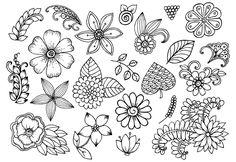 Drawing Doodles Ideas Vector set of doodle flowers More - Doodle Designs, Doodle Patterns, Zentangle Patterns, Flower Patterns, Doodle Art, Doodle Drawings, Doodle Images, Flower Doodles, Doodle Flowers