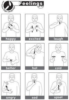 containing 13 essential NZSL signs for Feelings.Sheet containing 13 essential NZSL signs for Feelings. Sign Language Chart, Sign Language Phrases, Sign Language Alphabet, Learn Sign Language, Sign Language Basics, Simple Sign Language, Sign Language For Kids, Learn To Sign, British Sign Language