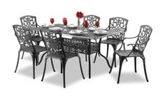 """nice Alium """"Cleveland"""" Cast Aluminium 6 Seater Rectangular Garden Furniture Set in Black Buy this and much more home & living products at http://www.woonio.co.uk/p/alium-cleveland-cast-aluminium-6-seater-rectangular-garden-furniture-set-in-black/"""