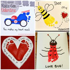 Here is a bunch of footprint valentines day craft ideas for the kids to make! These are great for gifts or homemade cards.