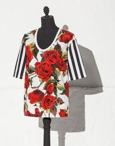 283ba47a64b34 STRIPED AND ROSE PRINT COTTON POPLIN TOP - T-Shirts - Dolce&Gabbana -  Summer 2015