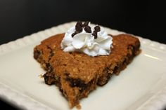 Guilt free chocolate chip cookie pie  I've got to try this... and send the recipe to my friend that looks for gluten free recipes.  No flour..