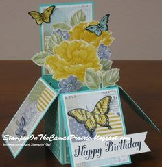 "Stippled Blossoms Card in a Box -  DeAnn Rauzi, Thanks to Tanya Bell for her video. The one thing I did different was to cut the paper to 5-1/2"" when she has you cut to 6"". That way the card, when folded flat is 4-1/4"" x 5-1/2"". More details on my blog: StampinOnTheCamasPrairie.blogpost.com"