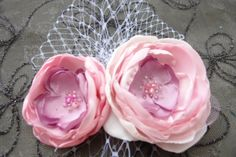 Wedding fascinator flower hairpiece brooch 2in1 Bridal bridesmaid pink blush  clip Beads Pearls on Etsy, $14.95