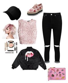 """Black&pink"" by thecuteoutffit on Polyvore featuring Boohoo, Prada, Moschino and Flexfit"