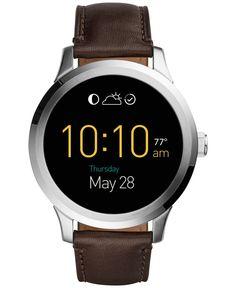 Fossil Men's Digital Q Founder Brown Leather Strap Smartwatch 46mm FTW20011