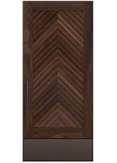 SCOTLYNN A custom door design with select grade wood frames a chevron pattern achieved as woodgrains vertically converge above a custom steel kickplate, creating a depth and richness reminiscent of a vintage porta Italiana. Rendering shown in walnut. House Main Door Design, Main Entrance Door Design, Exterior Entry Doors, Wooden Main Door Design, Grill Door Design, Door Design Interior, Wood Screen Door, Feature Wall Design, Cupboard Design