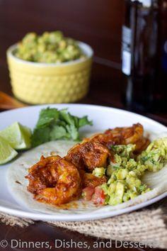 Chile-spiced shrimp tacos.