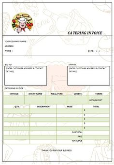 30 Best Catering Invoice Templates Images On Pinterest